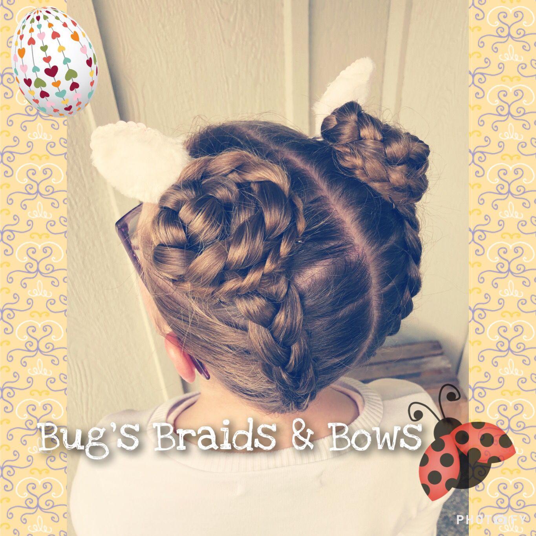 Bunny Ears Hairstyle With Climbing Dutch Braids Into Braided Space Buns Bugsbraidsandbows Bu Braided Hairstyles Updo Braided Hairstyles Braids With Curls