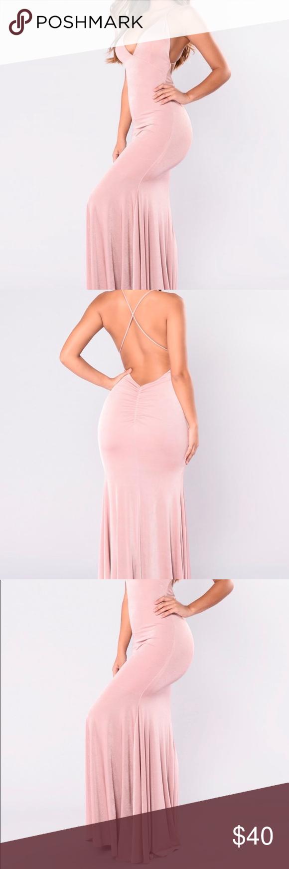 Blush Max dress V Neck with low back maxi dress Fashion Nova Dresses Maxi