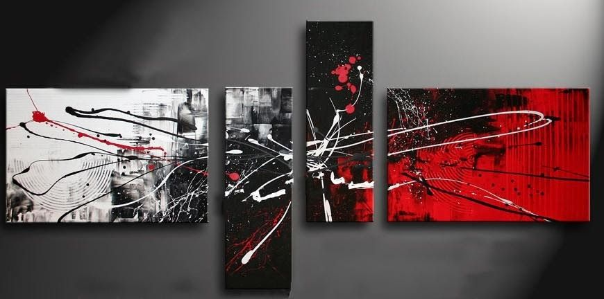 Cuadros Tripticos Modernos En Rojogrisnegroalto Relieve S 390 - Cuadros-en-relieve-modernos