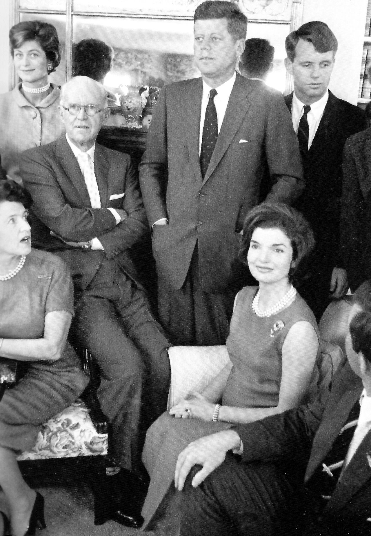 The Kennedys caught off-gaurd during a sitting for a family portrait.