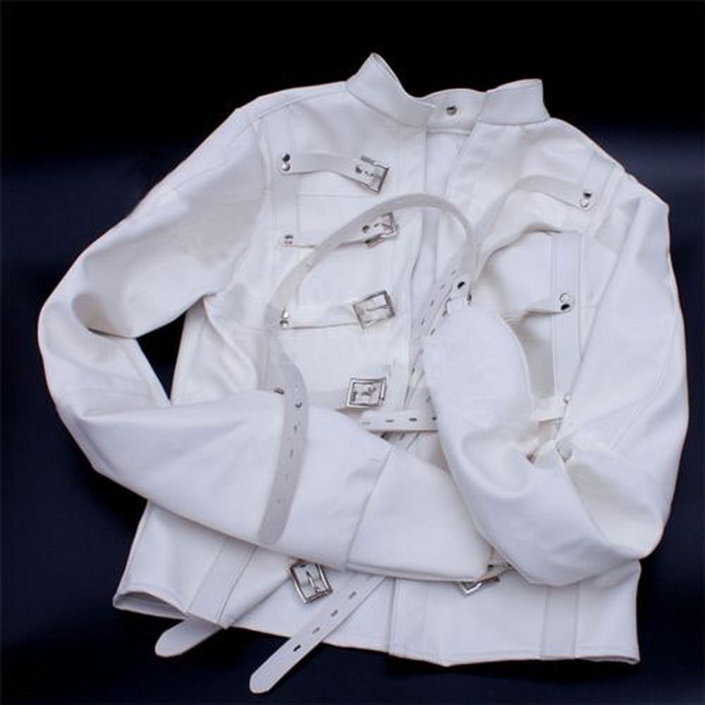 White Asylum Straight Jacket Costume S/M L/XL BODY HARNESS ...