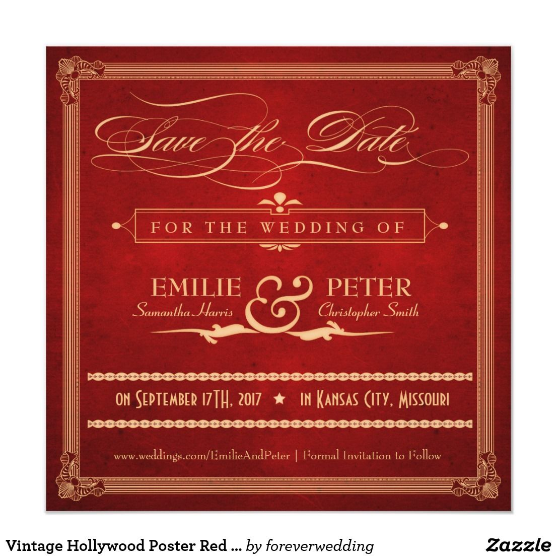 Vintage Hollywood Poster Red & Gold Save the Date | ART DECO WEDDING ...