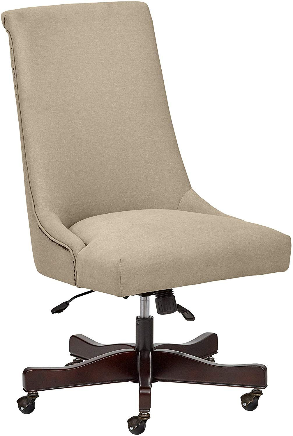 Stone Beam Nailhead Swivel Office Chair with Wheels, 28.4