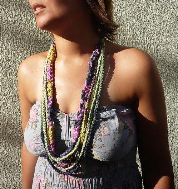 Loop Hand Crochet Necklace  blue green yellow by designbySoniaReis