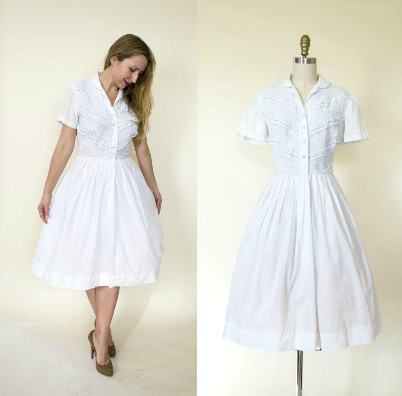 1950s Dress 50s Dress Vintage White Cotton Shirt Dress Pinup