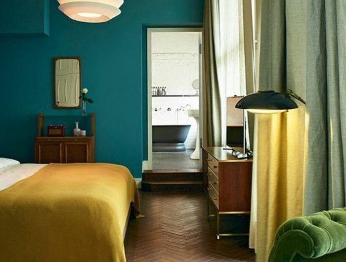 chambre bleu canard p trole ou paon trois nuances et 54 id es d co d coration chambre. Black Bedroom Furniture Sets. Home Design Ideas