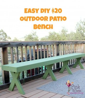 Easy DIY $20 Outdoor Patio Bench via PinkWhen.com