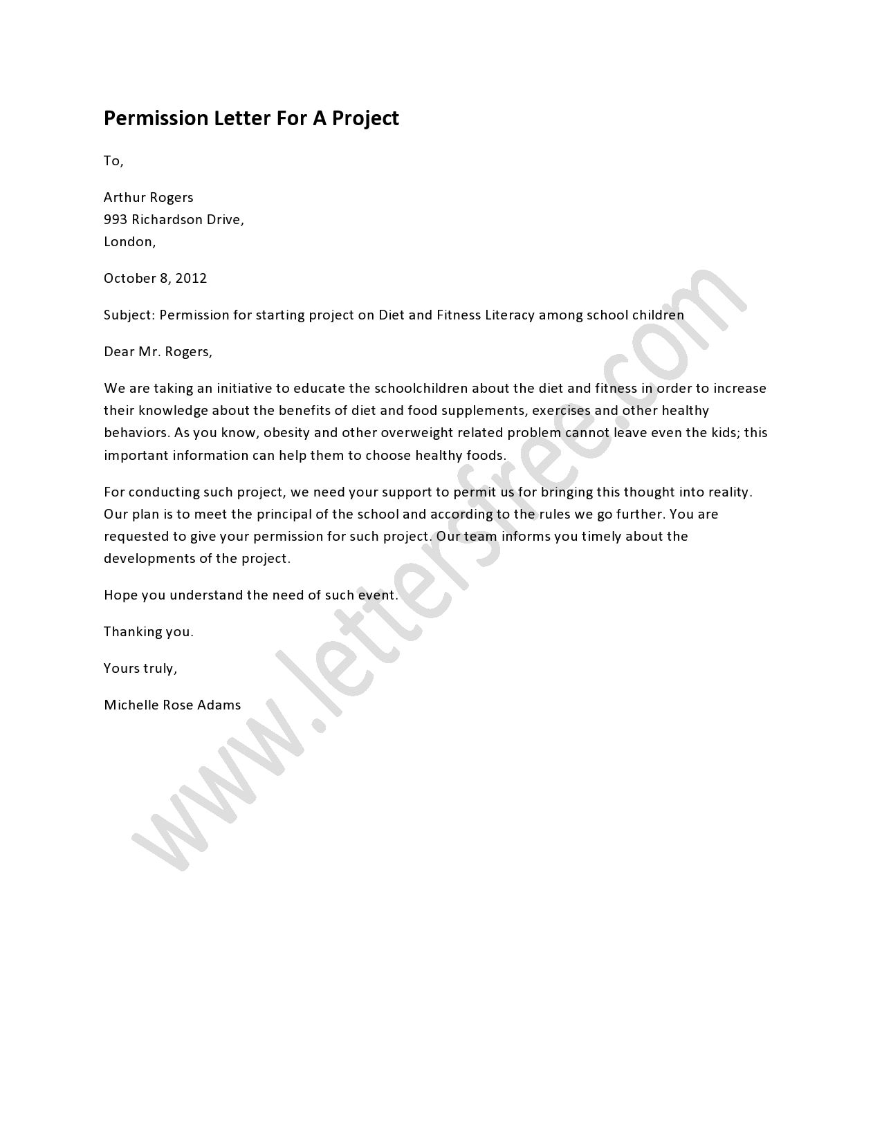 Permission Letter For A Project Free Letters Consent