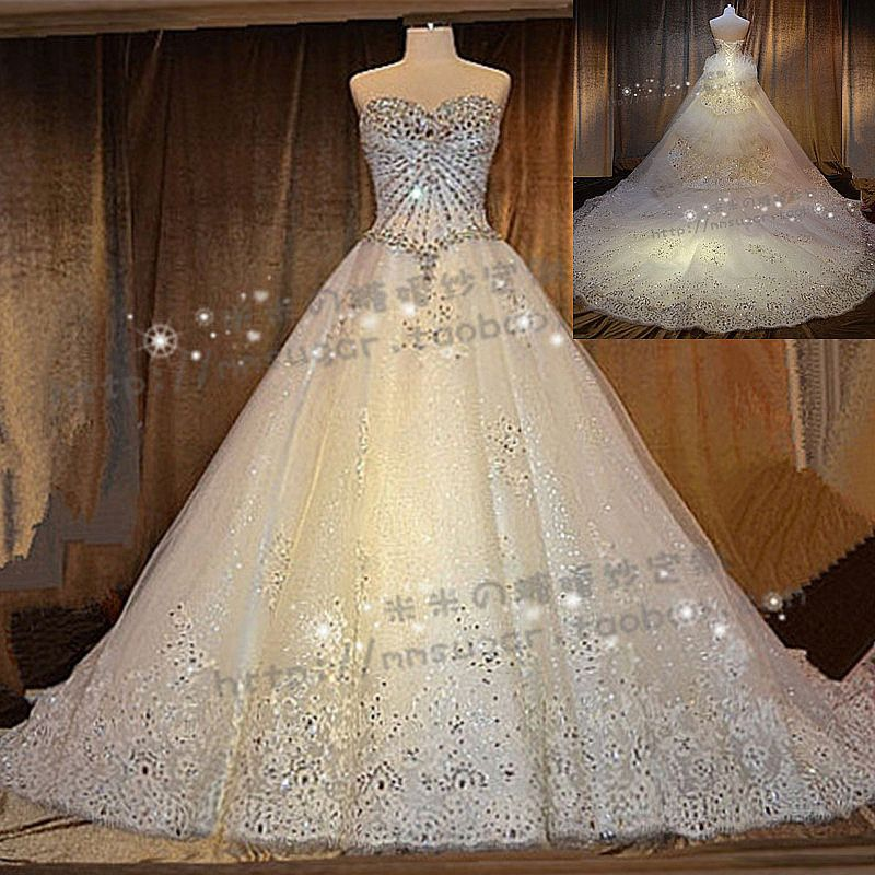 Stella Free Shipping Gown Luxury Swarovski Crystal Bling Top Train Princess Wedding Dress Formal
