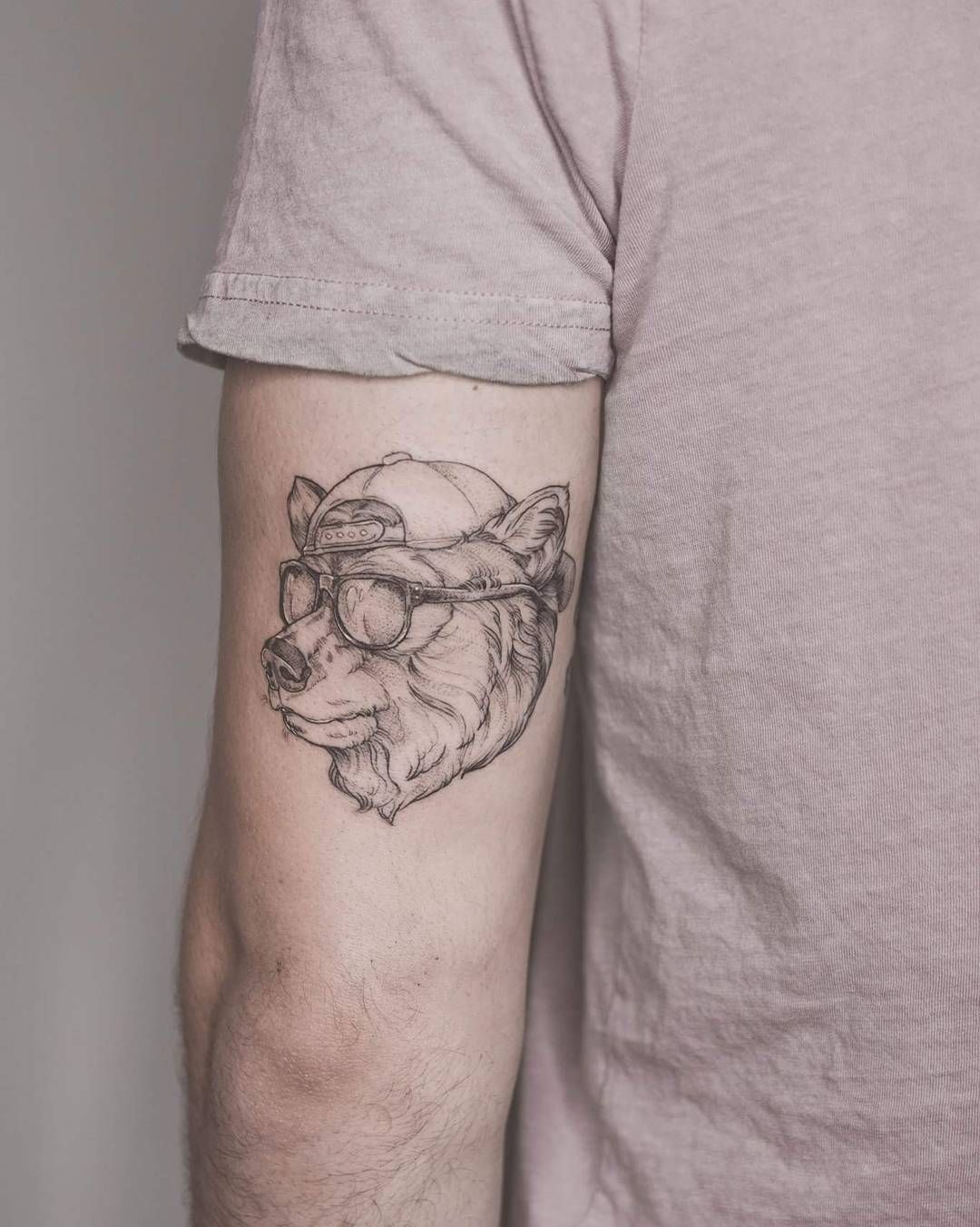 Tattoo ideas for men little cool guy bear man from the other day a little warped as he wraps