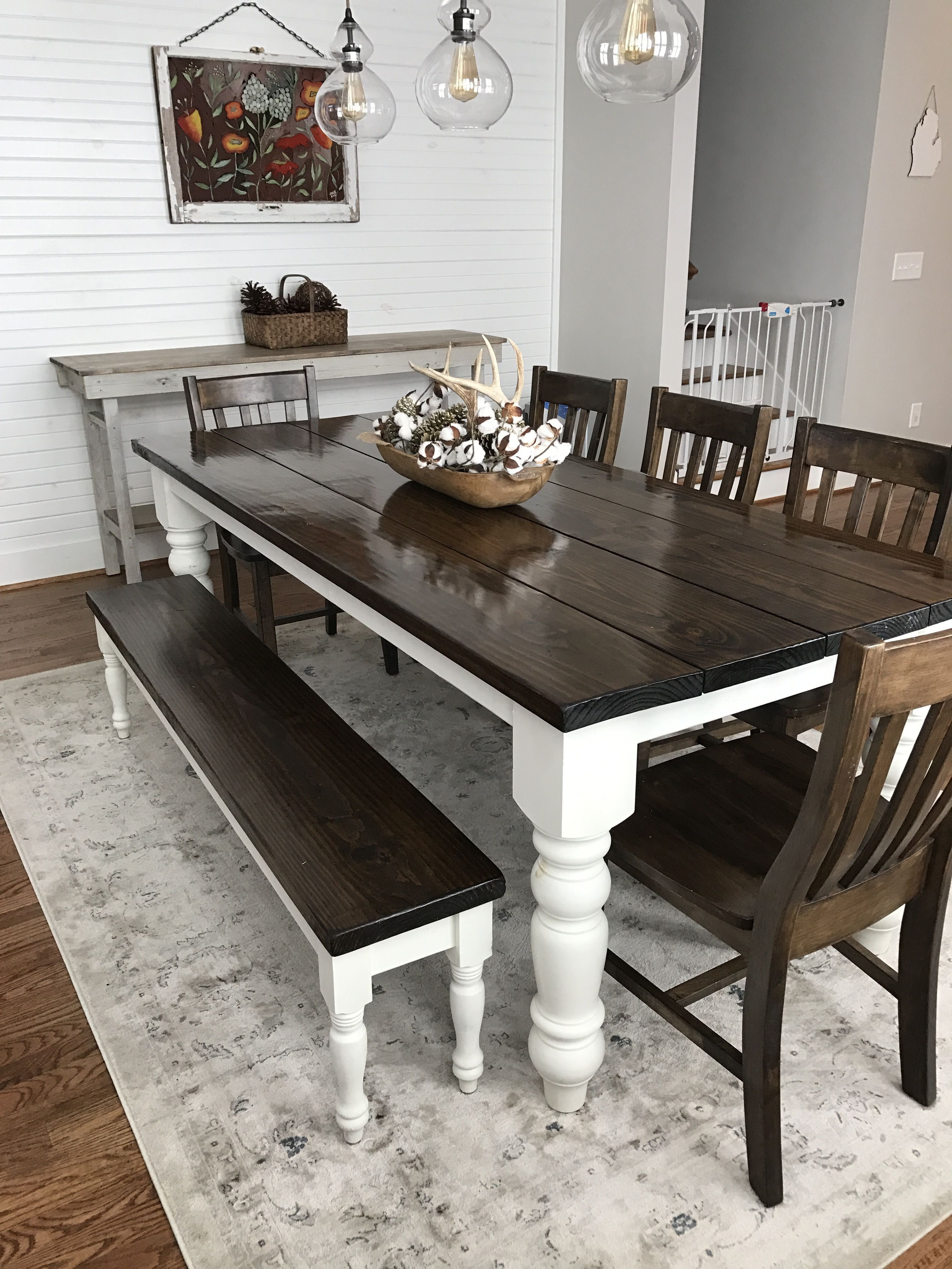 Details about LARGE 7ft FARMHOUSE Table And Chairs Bench