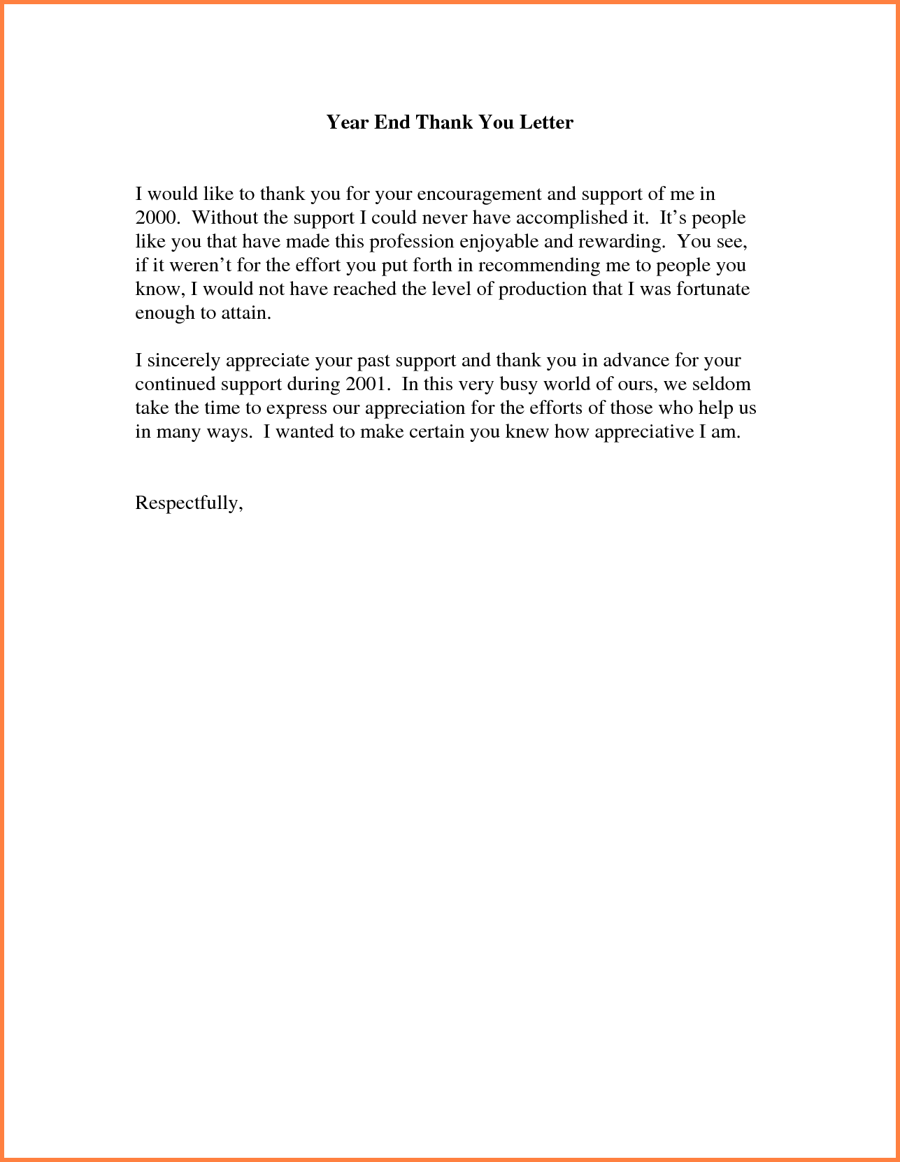 Letter Sales Report Template Sample Thank You Ending Appreciation