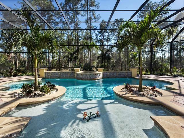 Gorgeous screened pool and lanai Love the seahorses on the sun shelf Palm tree planters