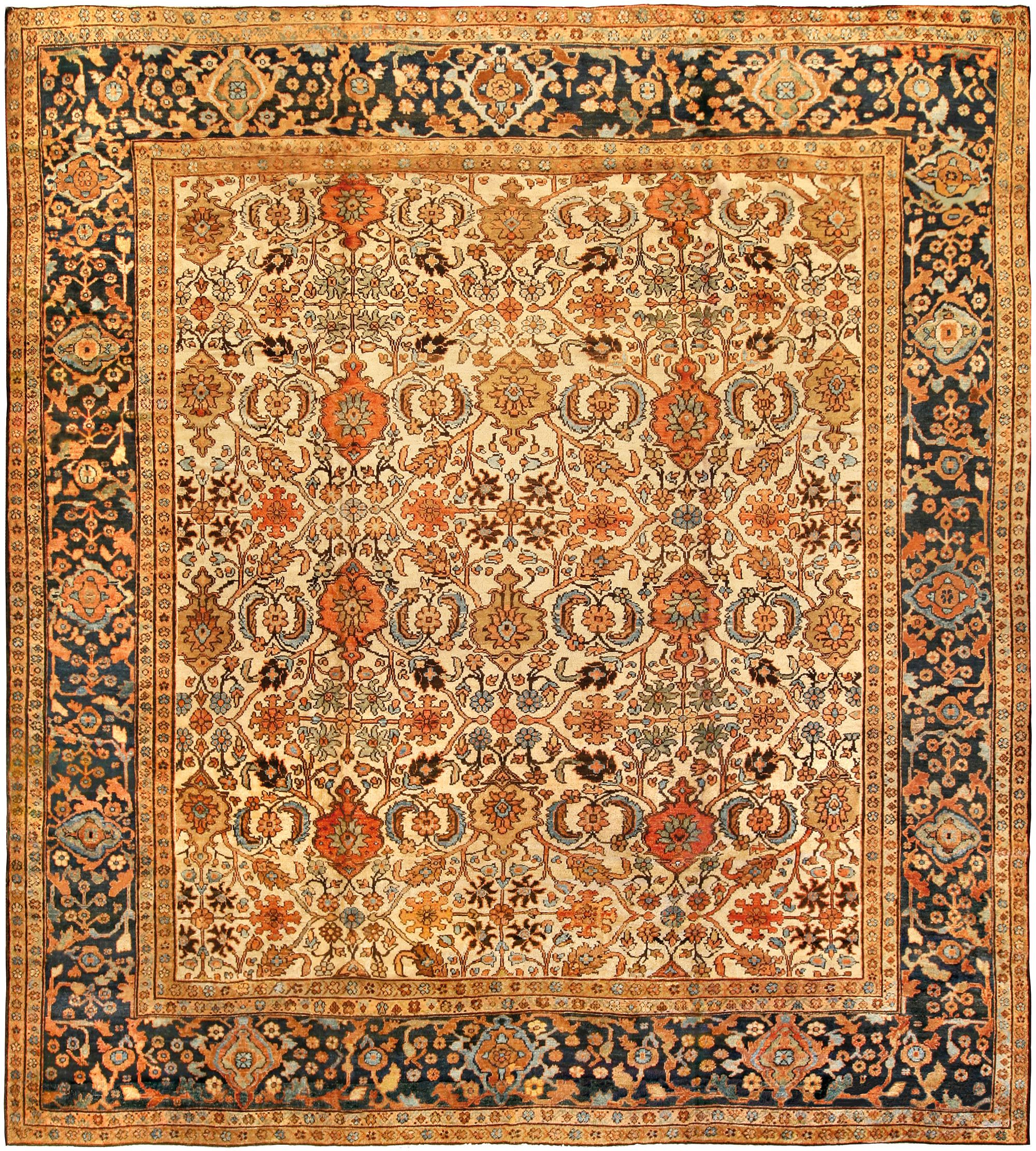 19th Century Persian Sultanabad Light Blue Salmon Beige Rug Bb1353 By Dlb Oriental Rug Patterns Persian Rug Designs Rugs On Carpet