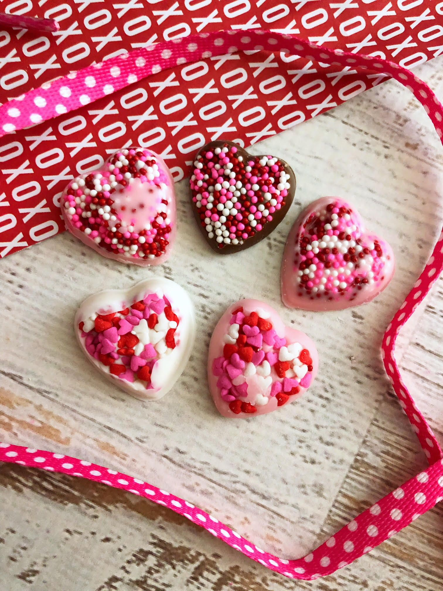 Valentine's Day homemade chocolate candy hearts with sprinkles - Teaspoon of Goodness