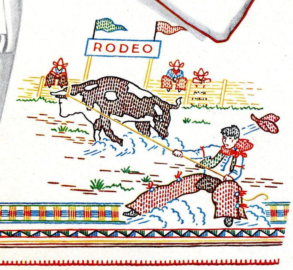 Hand embroidery pattern 688 rodeo horse bull cowboy for pillow hand embroidery pattern 688 rodeo horse bull cowboy for pillow scarf 1930s bankloansurffo Gallery