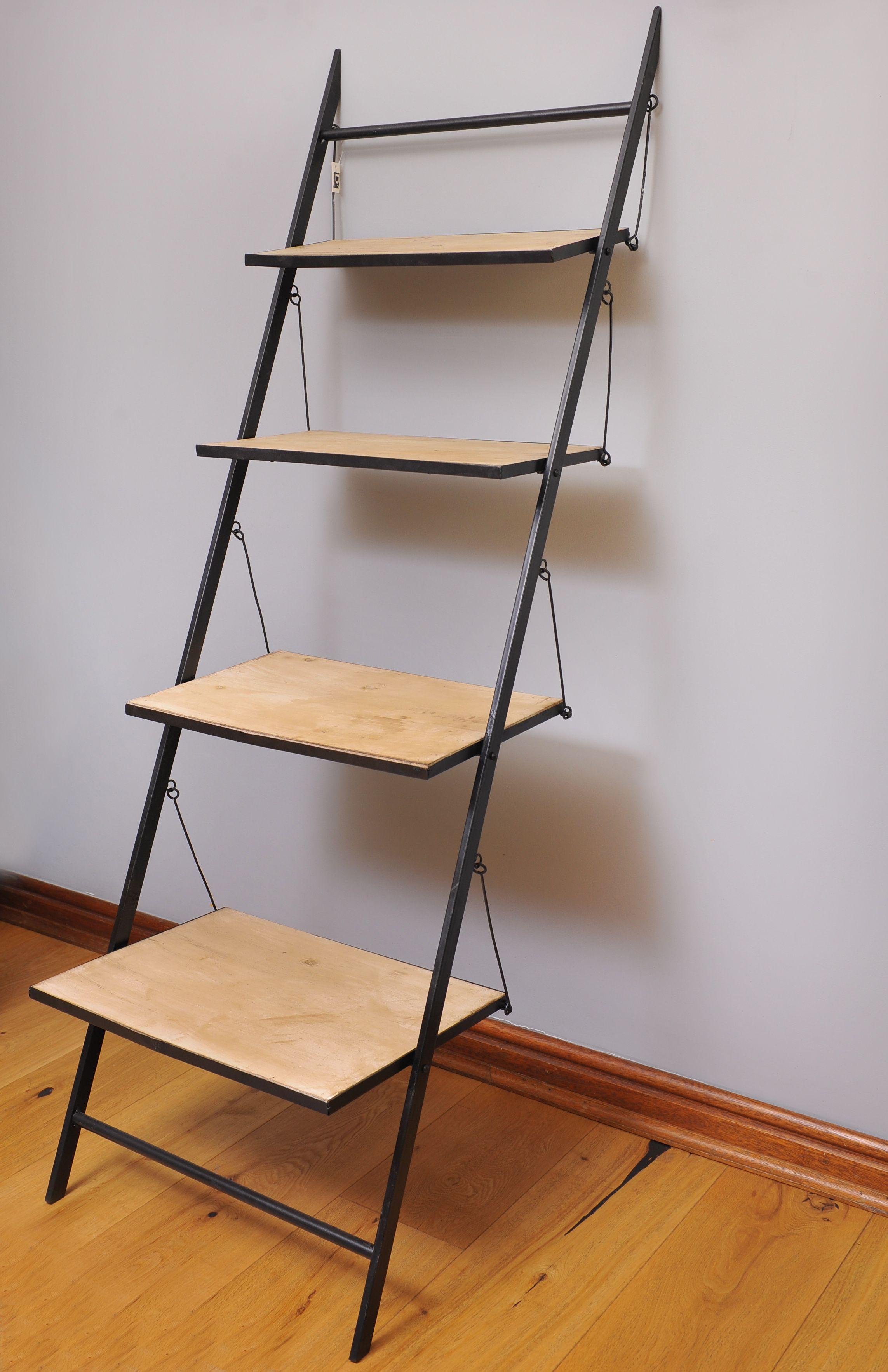 repisa escalera de metal con madera medidas
