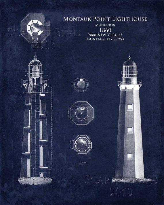 Montauk point lighthouse architectural blueprint by scarletblvd montauk point lighthouse architectural blueprint by scarletblvd malvernweather Gallery