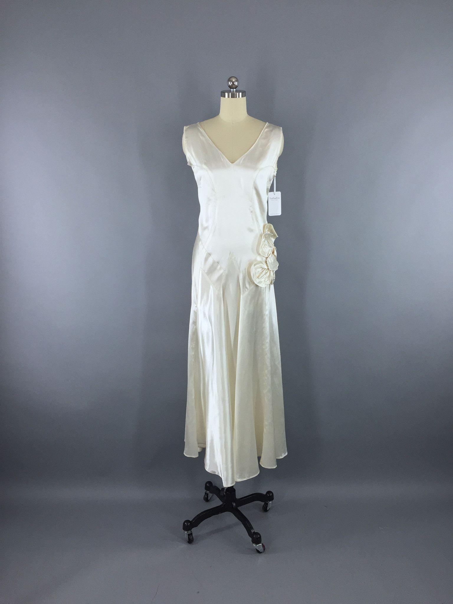 Vintage s art deco bias cut satin wedding gown dress white