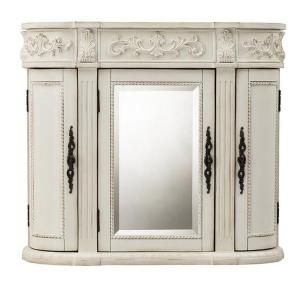 Home Decorators Collection Chelsea 31 5 In W Mirrored Wall Cabinet In Antique White 1589900410 T Bathroom Wall Cabinets Wall Cabinet Large Bathroom Cabinets
