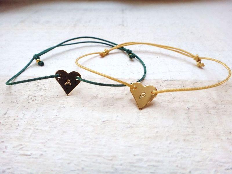 Freundschaftsbänder - 2x Armband mit Gravur ♥ Herz ♥ 10 Farben Gold - ein Designerstück von Edelschnitte bei DaWanda
