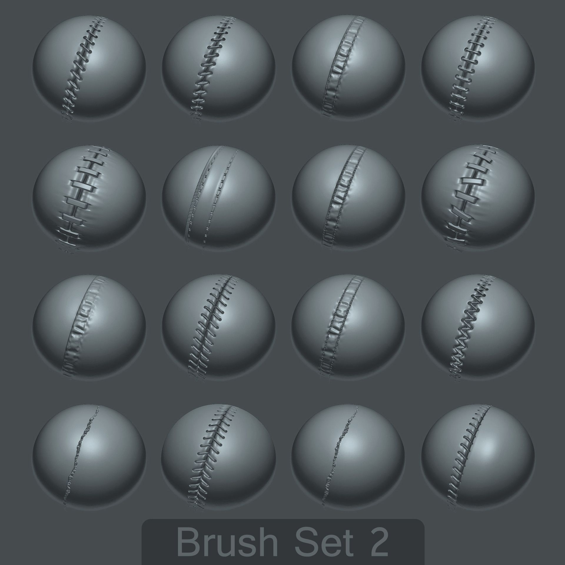 ArtStation - 16 Custom Seam/Stitch brushes for zBrush SET #2