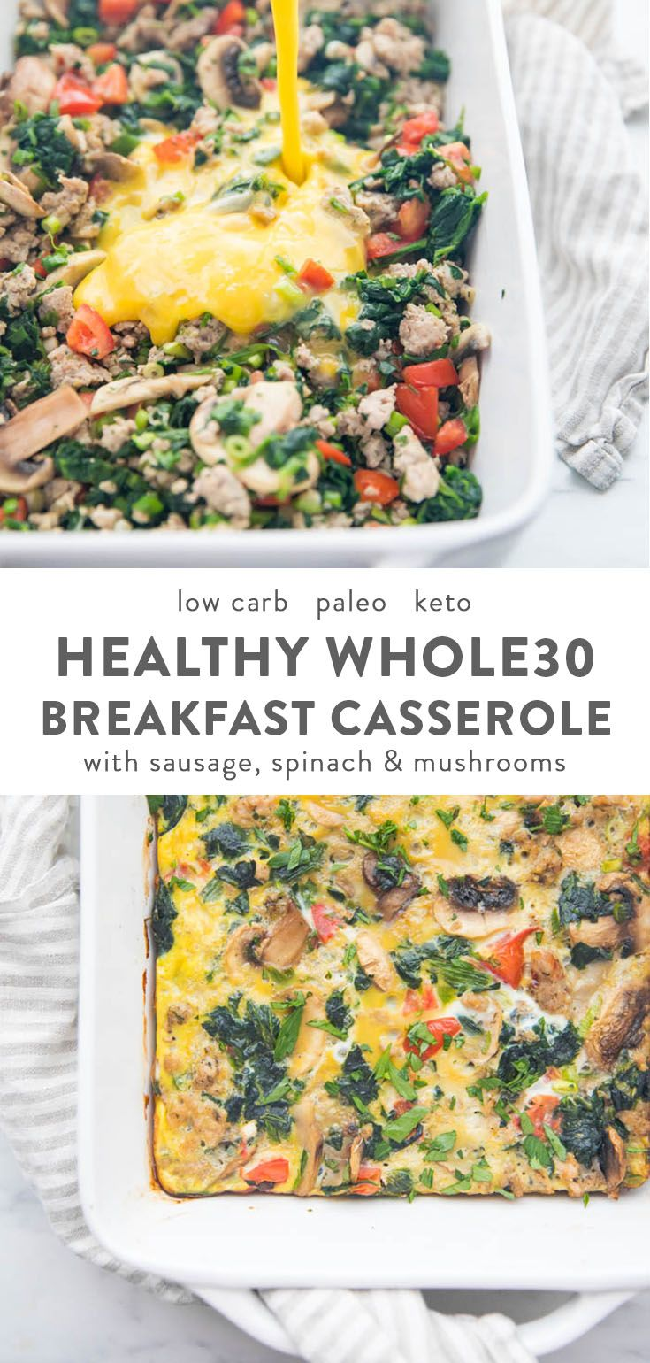 Whole30 Breakfast Casserole with Sausage, Eggs, Spinach, and Mushrooms images