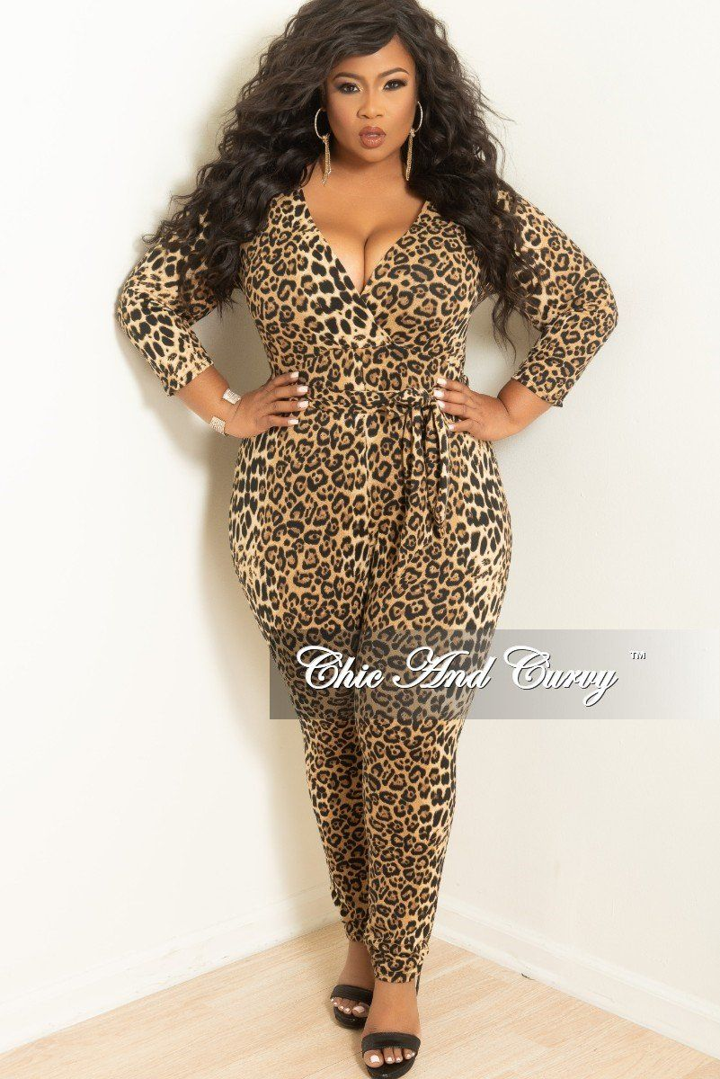 21aa5ec830 Plus Size Long Sleeve Faux Wrap Jumpsuit with Attached Tie in Leopard –  Chic And Curvy