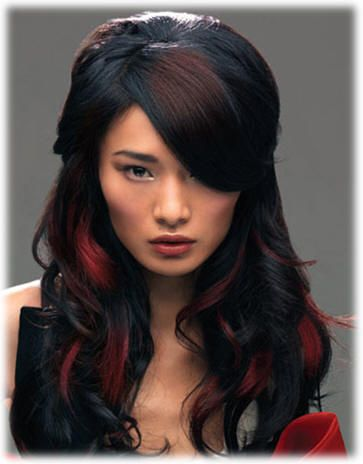 Highlights h a i r s t y l e s pinterest google images peekaboo red highlights on dark black hair why peekaboo highlights is the hairstyle trend for dark hair pmusecretfo Images