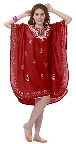 La Leela Chiffon Designer Embroidered Beach Swim Cover up Caftan Red