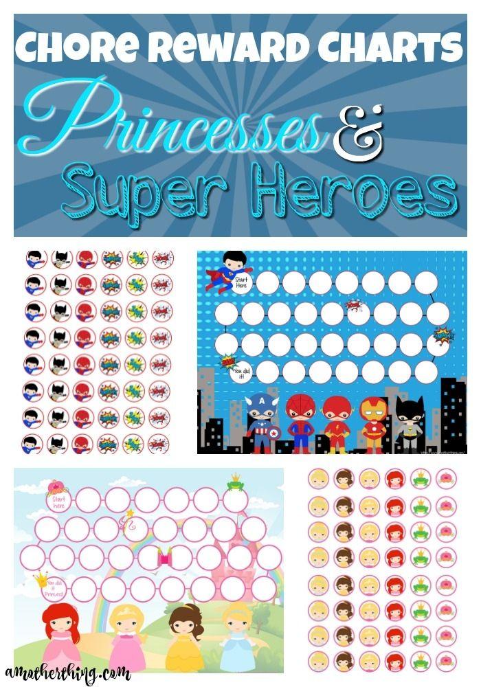 Chore Reward Charts - Princesses and Super Heroes