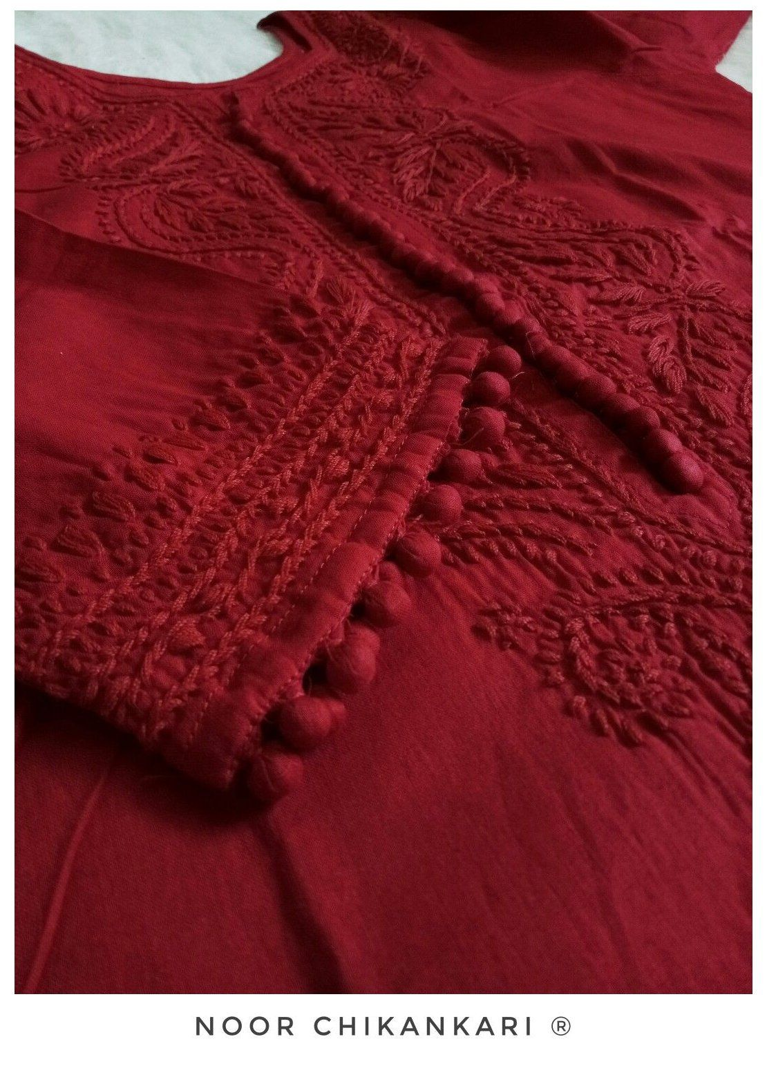 Login Chikankari Suits Party Wear Floral Motif Long Red Cotton Kurta With Red Chikankar In 2020 Embroidery Designs Fashion Chikankari Suits Stylish Dress Designs