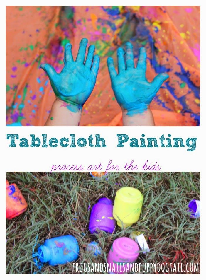 Tablecloth Painting ~ process art for the kids on FSPDT