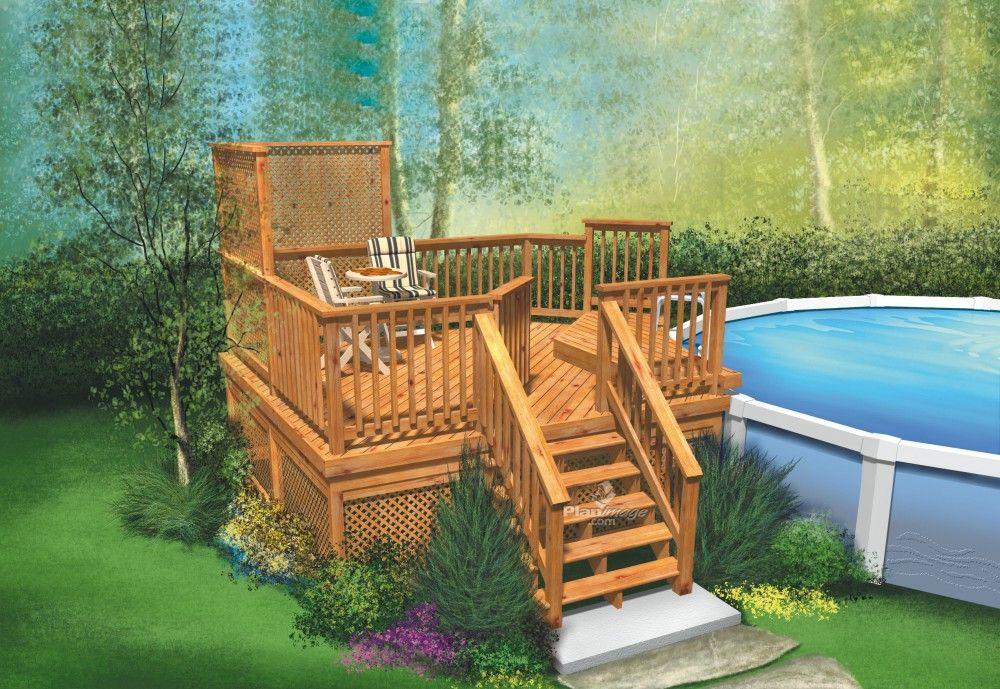 Cette terrasse surélevée en bois à deux niveaux avec escalier est