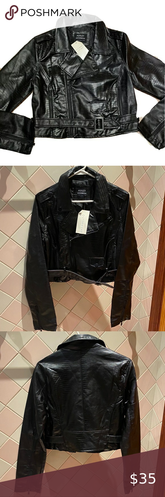 Ashley Outerwear Black Moto Leather Jacket Nwt Preowned Good Condition Bundle Save Or Ask For Black Leather Moto Jacket Leather Jacket Leather Moto Jacket [ 1740 x 580 Pixel ]