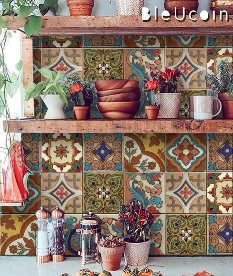 Floor  Pack of 44 is part of  - MEXICAN TERRACOTTA TILE DECAL  (The order pack can be customized with Your Required Size & Quantity, Please send us a message with Size & Quantity & We will send you a link to order them )  O R D E R   P A C K   I N C L U D E S QUANTITY  8 Assorted Designs , 44 pcs SIZE  You can select the size