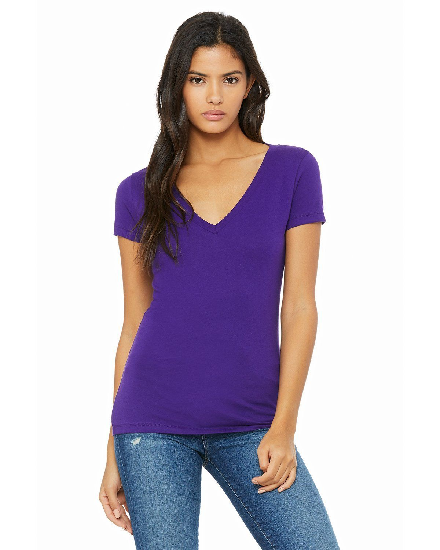 049bf2d0163 Bella + Canvas Ladies Jersey Short Sleeve Deep V-Neck T-Shirt B6035 Team  Purple