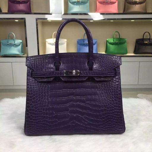 551ab1127de Hermes birkin 30CM sew matt crocodile leather blackcurrant purple ...