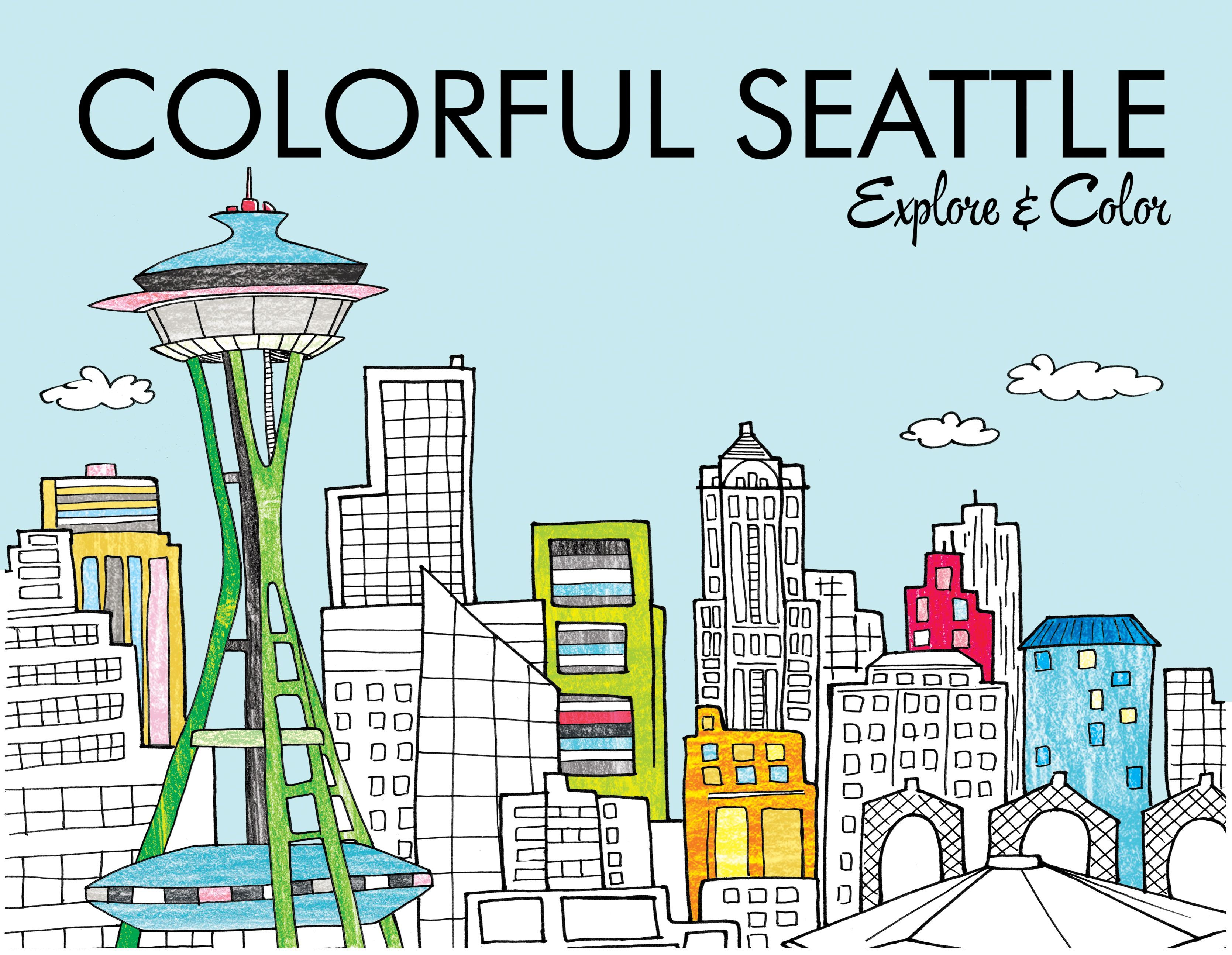 Seattle Coloring Book Explore And Color The Emerald City Coloring Books Seattle Map Black And White Illustration