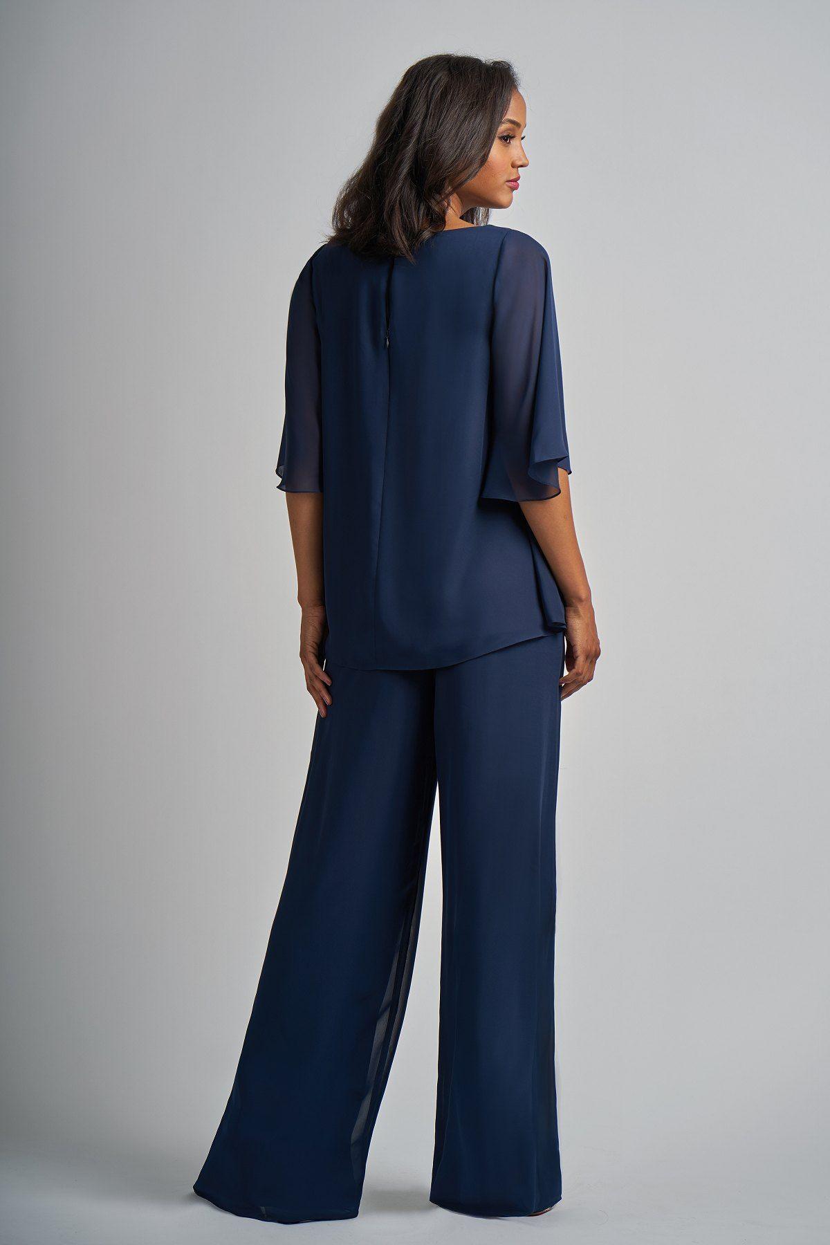 18fe84b50e087 M210009 Charlotte Chiffon MOB Pant Suit with Boat Neckline | Jasmine ...