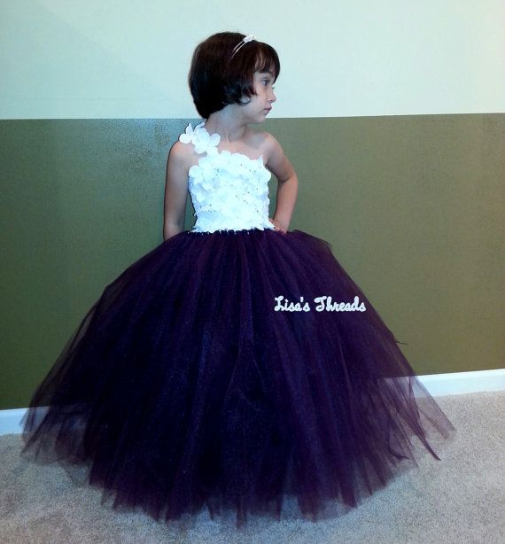 Plum flower girl dress(many colors available)/ Junior bridesmaids ...