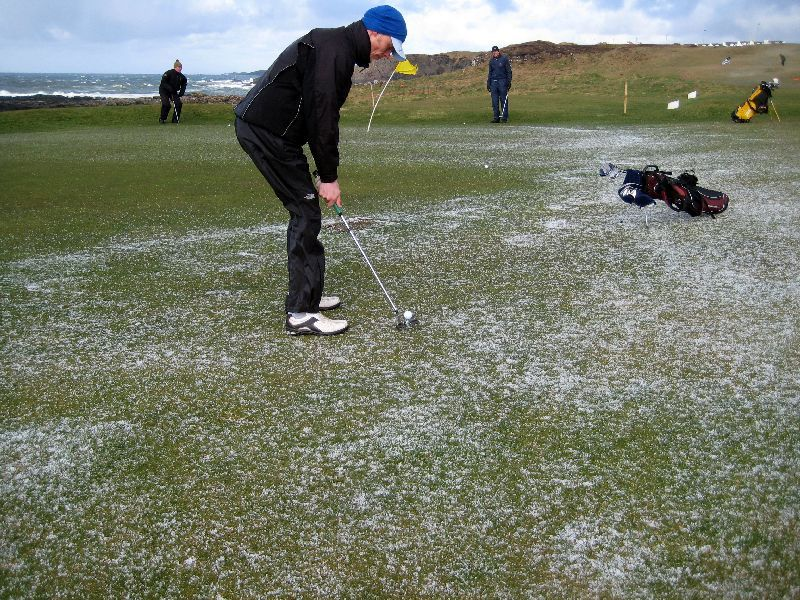 Portstewart The Old Course and little storm with iceballs but golfball is still bigger