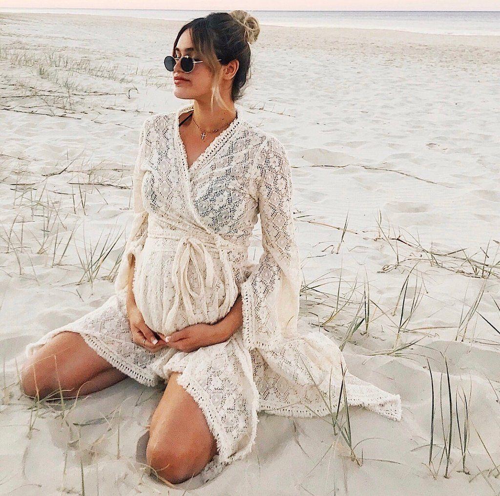 6156ffa78672c Baby shower boho dress lace crochet bohemian maternity pregnancy pregnant  photoshoot beach