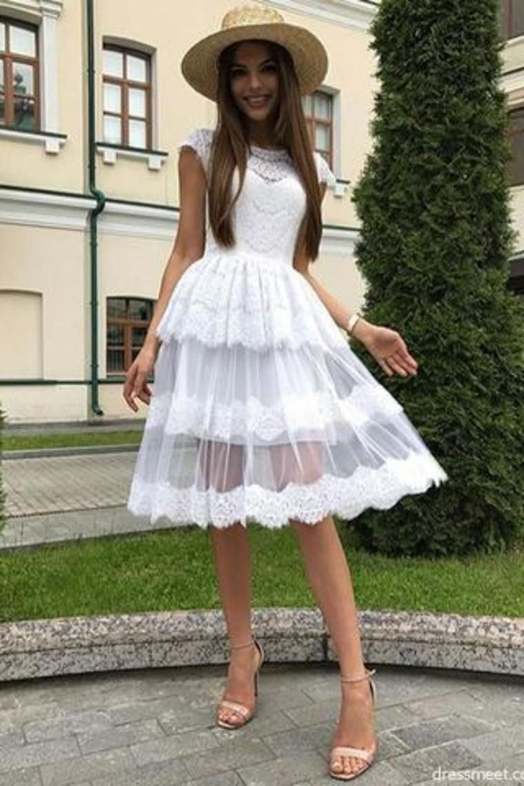 a line white lace homecoming dresses, beautiful short prom