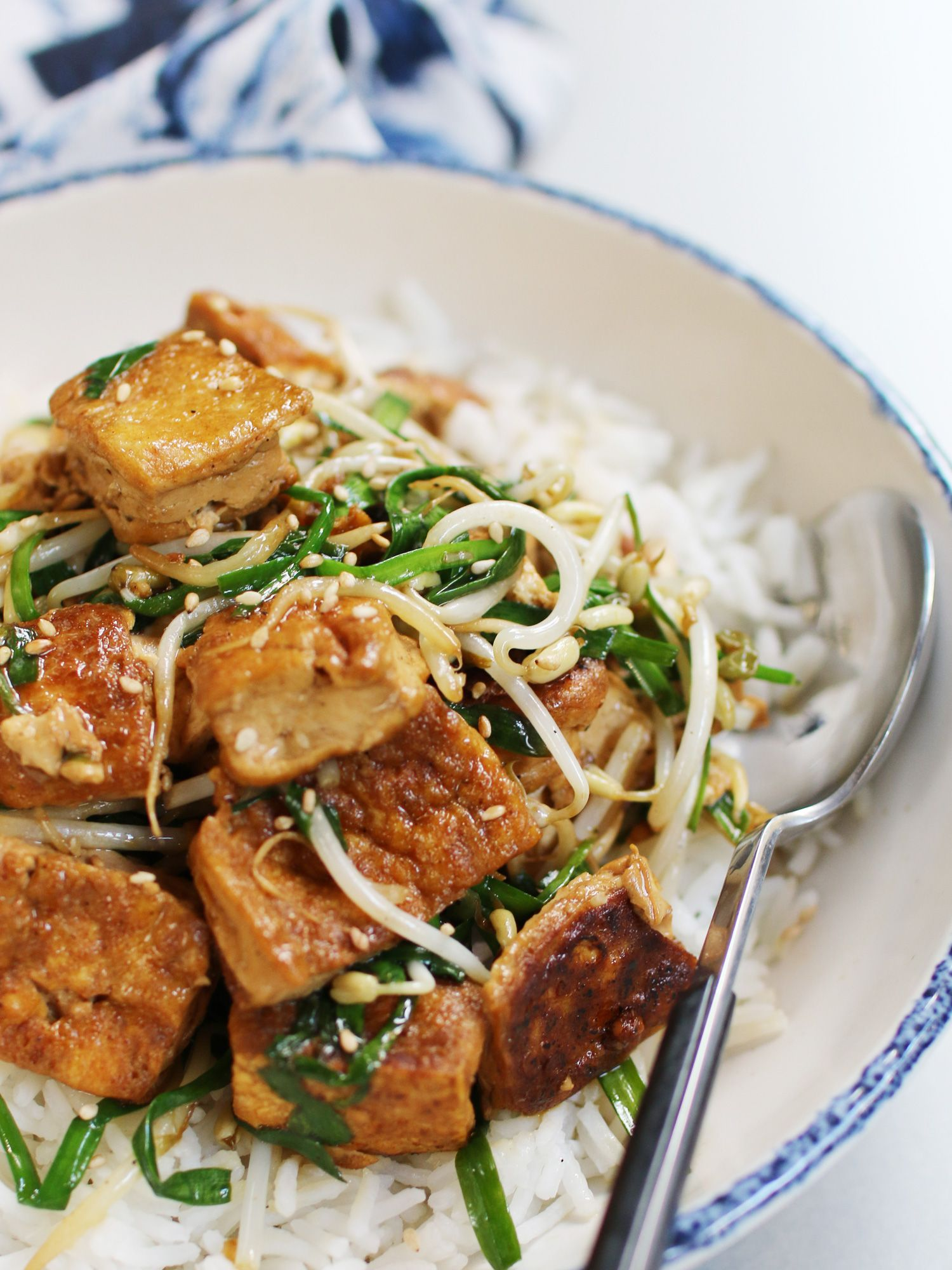 Stir Fried Tofu With Bean Sprouts And Chinese Chives