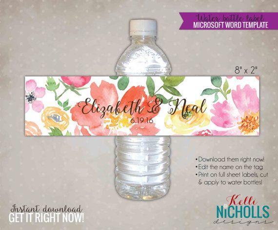 custom watercolor floral wedding water bottle labels diy custom