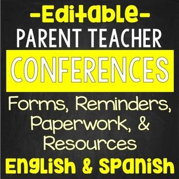 Parent Teacher Conferences EDITABLE Teacher conferences, Spanish