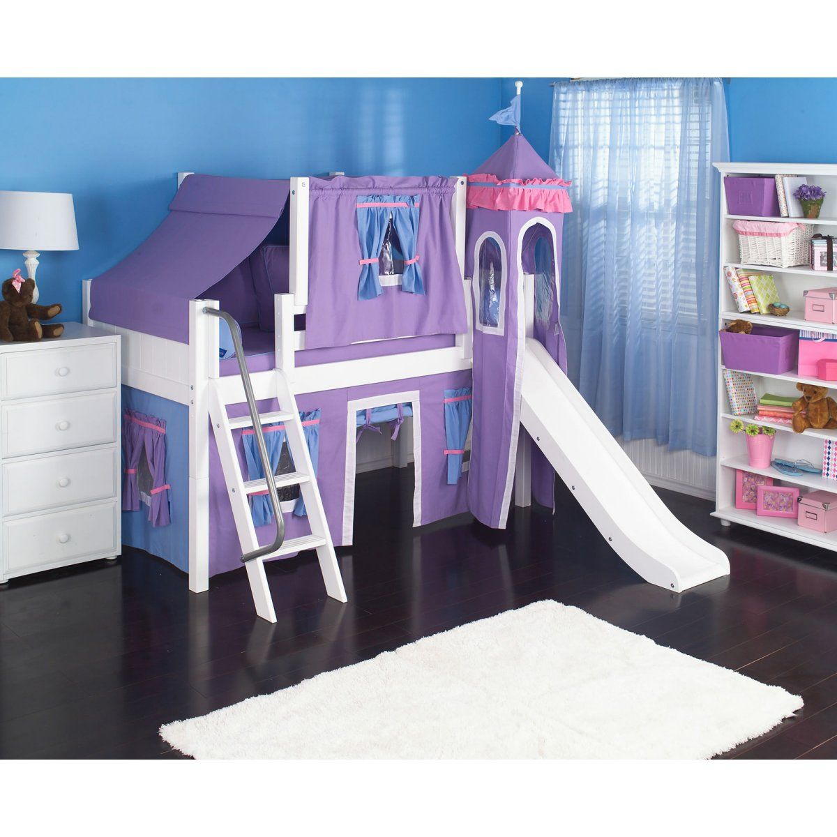 Wow Girl I Deluxe Panel Low Loft Tent Bed With Slide Diy Kids