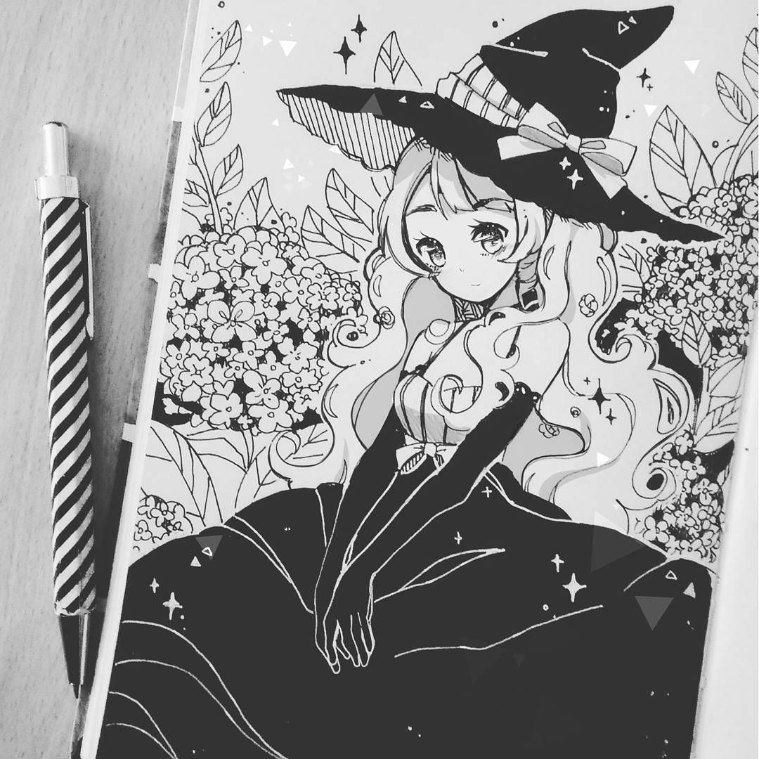 4 inktober garden witch sorry for repost drawings art