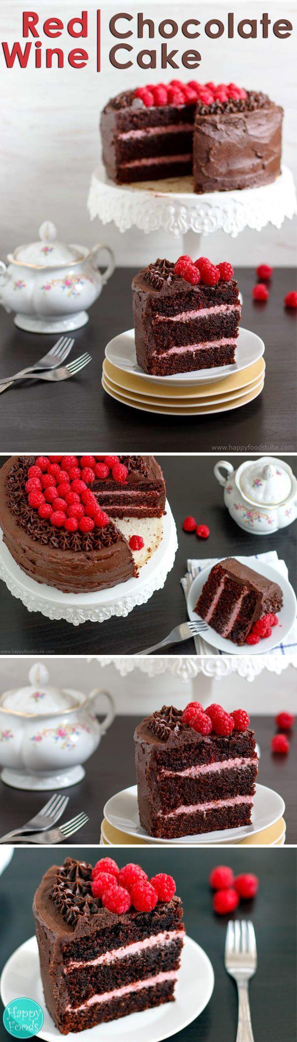 Red Wine Chocolate Raspberry Cake Recipe Happy Foods Tube Recipe Chocolate Raspberry Cake Recipe Wine Cake Chocolate Raspberry Cake